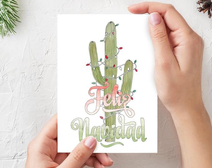 FELIZ NAVIDAD - 3-pack of Christmas Tree Greeting Cards, 5x7 Folded, Cactus, Palm Tree, Charlie Brown, Art, Drawn There