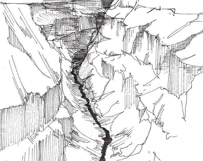 RIO GRANDE GORGE near Taos, New Mexico - Gorge, River, Canyon, Pen and Ink, Sketchbook, Art, Drawing, Southwest, Drawn There