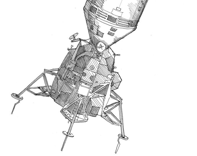APOLLO SPACECRAFT - Command Module, Lunar Module, Space Travel, Astronauts, Moon Landing, NASA, Drawing, Pen & Ink, Sketchbook, Drawn There