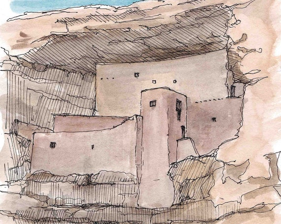 MONTEZUMA CASTLE National Monument - Arizona, Pueblo, Pen and Ink, Drawing, Watercolor, Painting, Sketchbook, Art Print, Drawn There