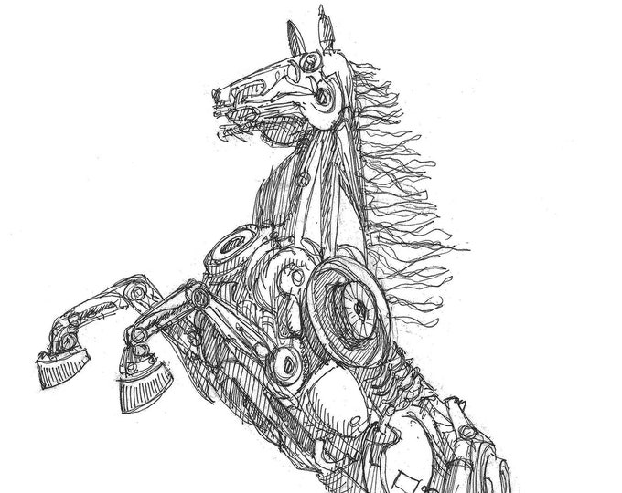 MECHANICAL HORSE - Sculpture, Metal Working, Art, Stallion, Black Rock City, Drawing, Pen and Ink, Sketchbook, Drawn There