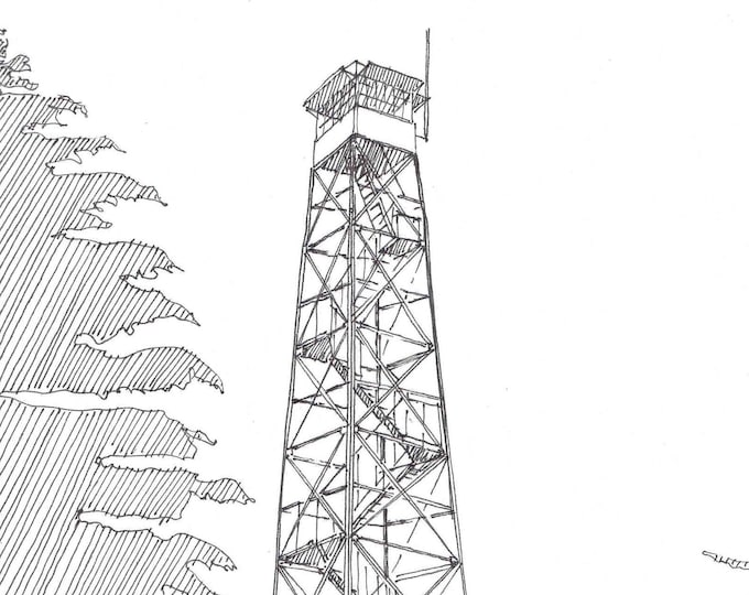 FIRE TOWER Watkins Glen, New York -  Forest Service, Wildfire, Pen and Ink, Drawing, Sketchbook, Steel Tower, Art, Line Drawing, Drawn There