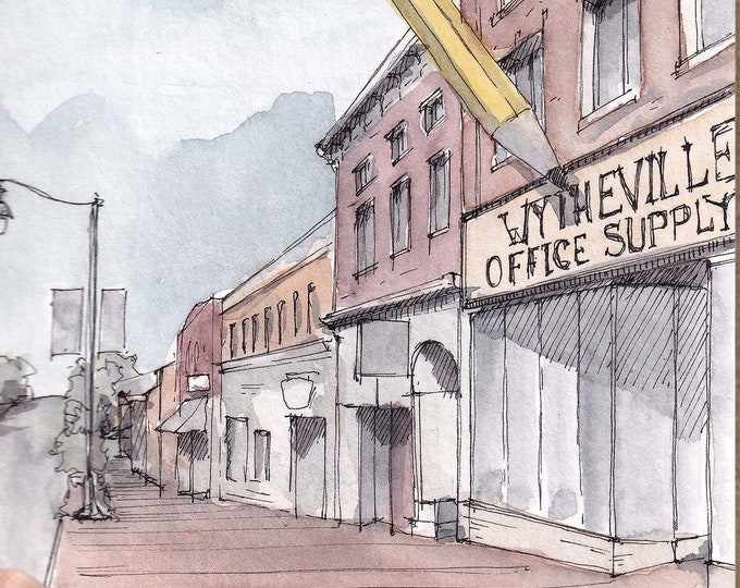 GIANT PENCIL in Wytheville, Virginia - Main Street, Office Supply, Urbansketcher, Watercolor Painting, Drawing, Sketchbook, Art, Drawn There