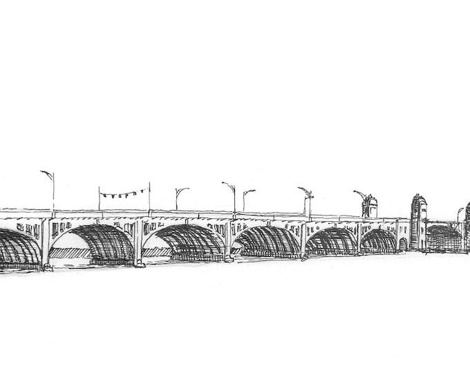 HANOVER STREET BRIDGE - Baltimore, Maryland, Historic, Stone, Chesapeake Bay, Drawing, Pen and Ink, Sketchbook, Art, Drawn There