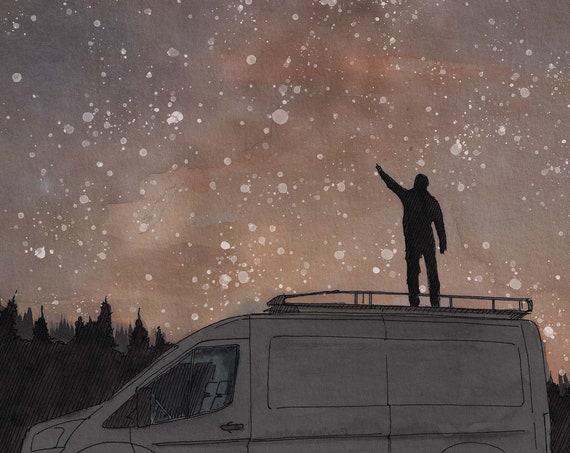 MILKY WAY VAN - Stars, Space, Night Sky, Stargazing, Vanlife, Camping, Silhouette, Watercolor Painting, Art, Art Print, Drawing, Drawn There