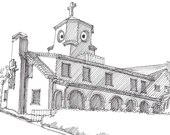 CHICKEN CHURCH in Saint Petersburg, Florida - Quirky, Architecture, St. Pete, Pen and Ink , Drawing, Sketchbook, Art, Drawn There