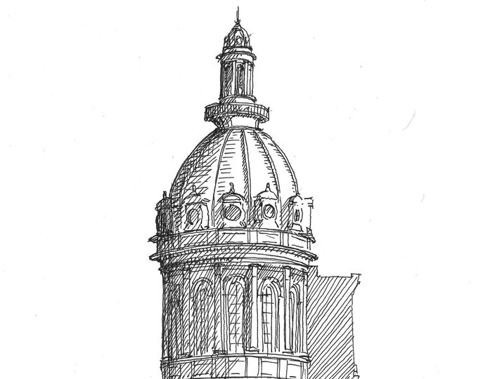 BALTIMORE CITY HALL  - Dome Cupola, Classical Architecture, Drawing, Sketchbook, Art, Pen and Ink, Urbansketcher, Drawn There