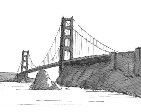 GOLDEN GATE BRIDGE - San Francisco, Bay, California, Drawing, Pen and Ink, Black and White, Sketchbook, Drawn There, Art Print, Pelican