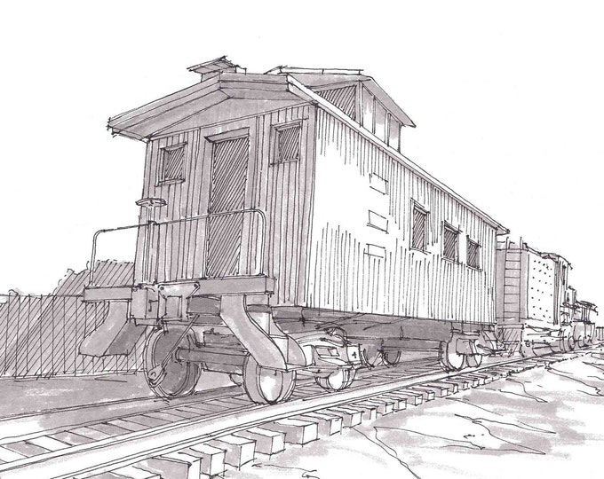 TRAIN CABOOSE - Frisco, Texas, Rail Road, History, Train Car, Ink Drawing, Sketch, Black and White, Art, Pen and Ink, Drawn There