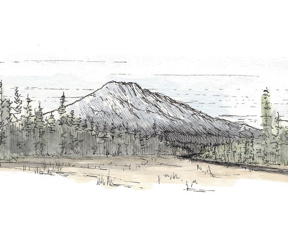 MOUNT BACHELOR - Bend Oregon, Mountain, National Forest, Drawing, Watercolor Painting, Sketchbook, Art, Print, Landscape, Drawn There