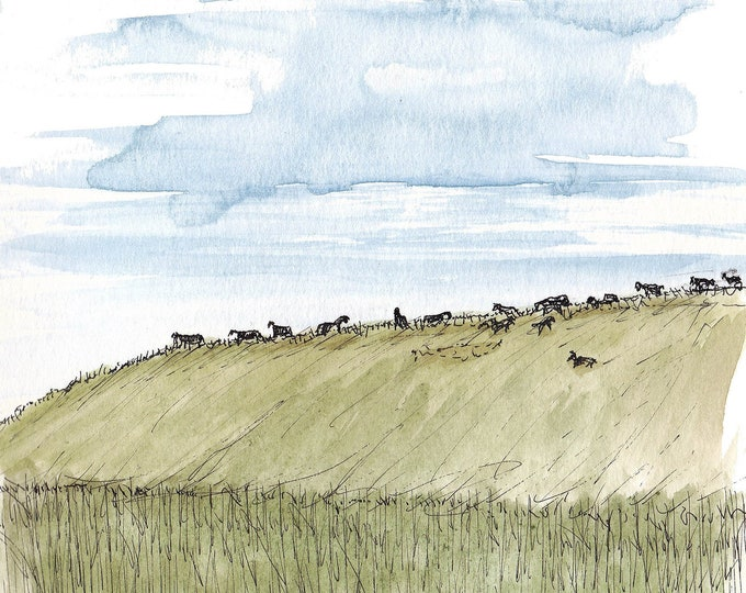 WILD HORSES - Three Forks Montana, Grassy Hill, Big Sky, Animals, Landscape, Art, Pen and Ink, Drawing, Painting, Sketchbook, Drawn There