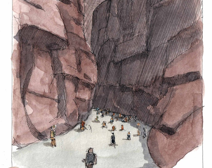 THE NARROWS ZION - National Park, Virgin River, Utah, Slot Canyon, Art, Ink and Watercolor, Drawing, Painting, Sketchbook, Drawn There