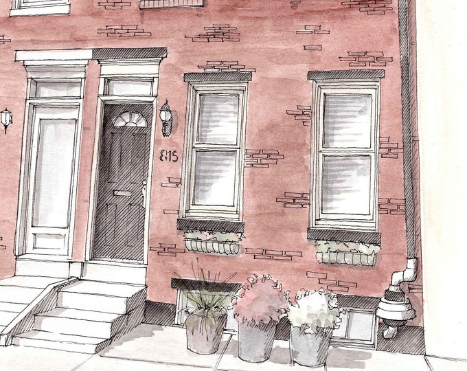 PHILADELPHIA ROWHOME - Row House, Fairmount, Brick Architecture, Drawing, Painting, Ink and Watercolor, Art, Print, Drawn There