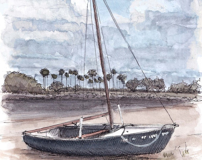 MISSION BAY SAILBOAT - Sailing, Boat, Beach, San Diego, Plein Air Watercolor Painting, Drawing, Sketchbook, Art, Drawn There
