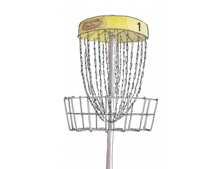 DISC GOLF BASKET - Frisbee, Golf, Hipster Sport, Chains, Innova, Yellow, Drawing, Pen and Ink, Watercolor, Painting, Art, Drawn There