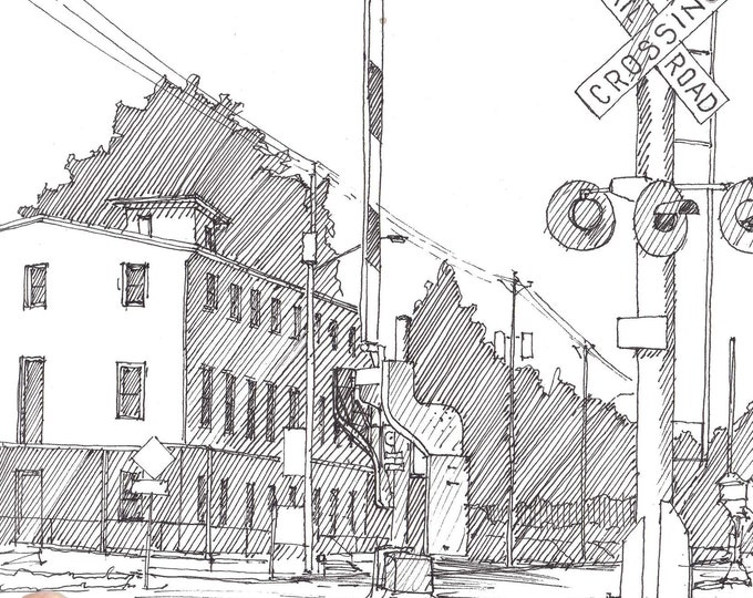 MAIN HOTEL - Hatfield, Pennsylvania, Cowpath, Small Town, Railroad Crossing, Pen and Ink, Drawing, Sketchbook, Art, Drawn There