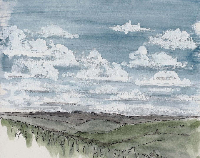 CLOUDS on the COLORADO TRAIL - Blue Sky, Hiking, Rolling Hills, Trees, Wilderness, Landscape, Watercolor, Painting, Sketchbook, Drawn There