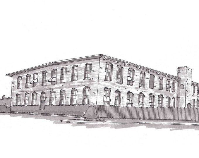 COTTON MILL - McKinney, Texas, Abandoned, Factory, Architecture, Ink Drawing, Sketch, Black and White, Line Drawing, Drawn There