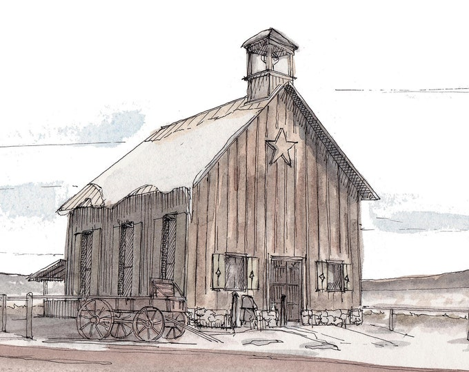 MORMON BARN BUILDING Utah - Rustic, Wedding Venue, Architecture, Ink and Watercolor, Drawing, Painting, Sketchbook, Art Print, Drawn There