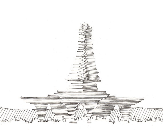 BLACK ROCK CITY - Temple, Radical Ritual, Playa, Architecture, Sketchbook, Art, Print, Pen and Ink, Drawn There