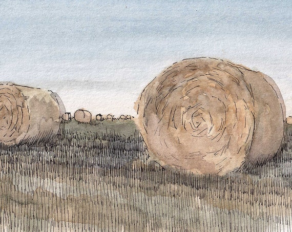 ROUND HAY BALES - Field, Ranch, Farm, Livestock, Agriculture, Watercolor Landscape Painting, Drawing, Art Print, Sketchbook, Drawn There
