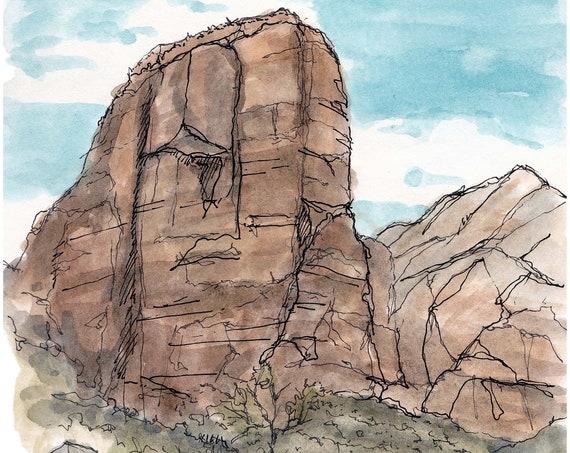 ANGELS LANDING - Zion National Park, Virgin River, Utah, Hike, Epic, Art, Ink and Watercolor, Drawing, Painting, Sketchbook, Drawn There