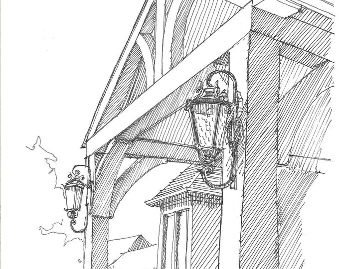 TIMBER BEAMS with Antique Lights - Drawing, Pen and Ink, Art, Sketchbook, Line Drawing, Architecture, Drawn There