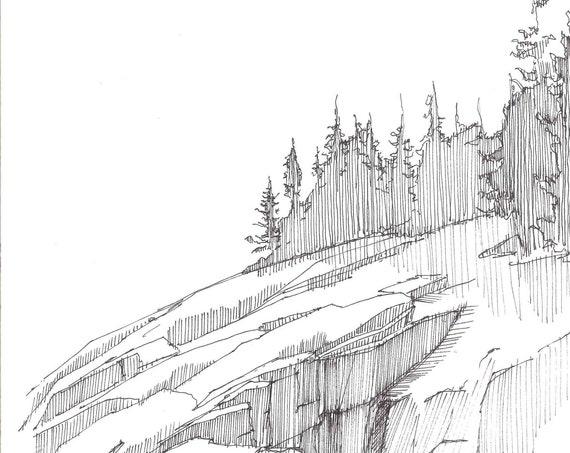 ROCKY COASTLINE in Acadia National Park, Maine - Coast, Beach, Rocks, Trees, Ocean, Drawing, Sketch, Pen & Ink, Sketchbook, Art, Drawn There
