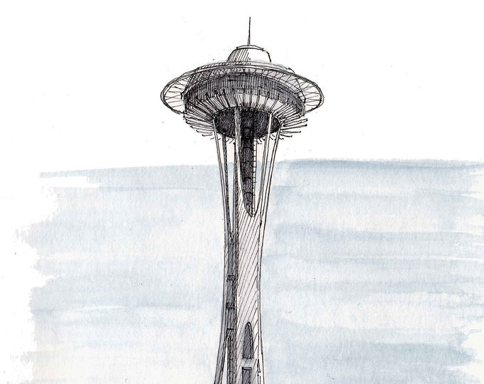SEATTLE SPACE NEEDLE - World's Fair, Architecture, Urbansketcher, Plein Air, Watercolor Painting, Drawing, Sketchbook, Art, Drawn There