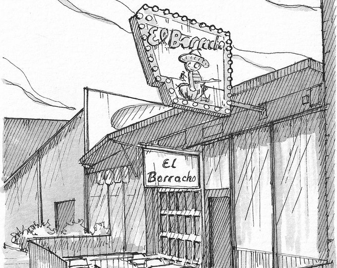 EL BORRACHO TACOS - Seattle, Ballard, Taco Shop, Mexican Food, Pikes Place, Drawing, Pen and Ink, Sketchbook, Art, Print, Drawn There