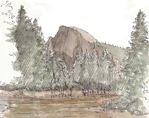 HALF DOME, YOSEMITE National Park - River Reflection, Hiking, Valley, Landscape, Drawing, Watercolor Painting, Sketchbook, Art, Drawn There