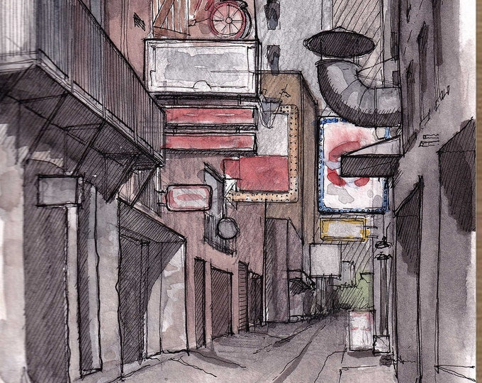 NASHVILLE PRINTERS ALLEY - Bars, Nightlife, Downtown, Tennessee, Urbansketcher, Watercolor Painting, Drawing, Sketchbook, Art, Drawn There