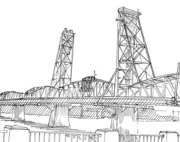 HAWTHORNE BRIDGE, Portland, Oregon - Pen and Ink, Drawing, Sketchbook. Art Print, Engineering, Drawbridge, River, Engineering, Drawn There