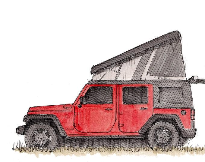 JEEP CAMPER - Pop Top, Off Road, Vanlife, Camping, Ursa Minor, Ink, Drawing, Watercolor, Painting, Sketchbook, Art, Drawn There