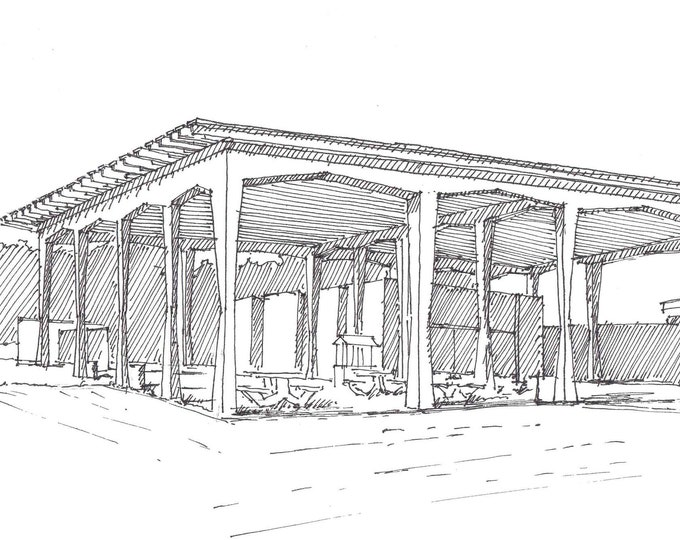 SIESTA KEY FLORIDA Beach Pavilion - Mid Century Architecture, Modernism, Drawing, Pen and Ink, Sketchbook, Art, Drawn There