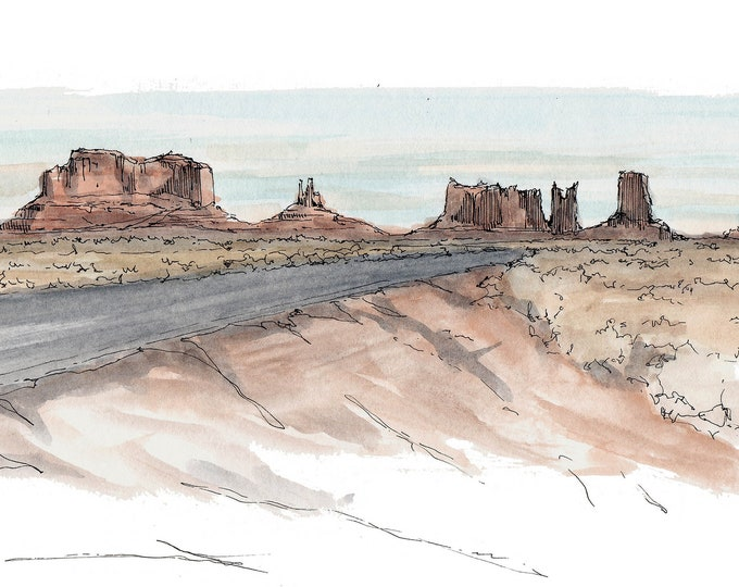 MONUMENT VALLEY UTAH - Southwest, Landscape, Buttes, Red Sandstone, Ink and Watercolor, Drawing, Painting, Sketchbook, Drawn There