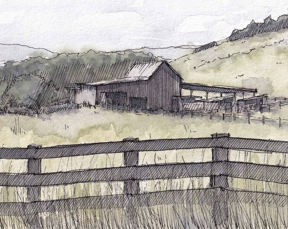 VIRGINIA FARM & FENCE - Pasture, Barn, Meadow, Rural, Fields, Nature, Landscape Watercolor Painting, Drawing, Sketchbook Art, Drawn There