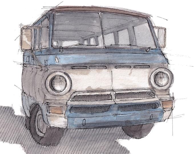 DODGE A100 VAN - Classic, Vintage, Vanlife, Roadtrip, Ink and Watercolor Drawing, Sketchbook, Art Print, Drawn There