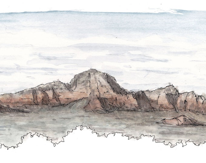 SEDONA THUNDER MT - Ink and Watercolor, Art Print, Drawing, Mountain, Landscape, Vortex, View Point, Arizona, Red Rocks, Sandstone
