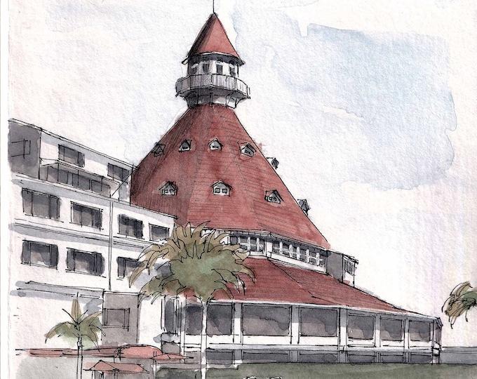 HOTEL DEL CORONADO -  San Diego, Coronado Island, Resort, Architecture, Drawing, Ink, Watercolor, Painting, Sketchbook, Art, Drawn There