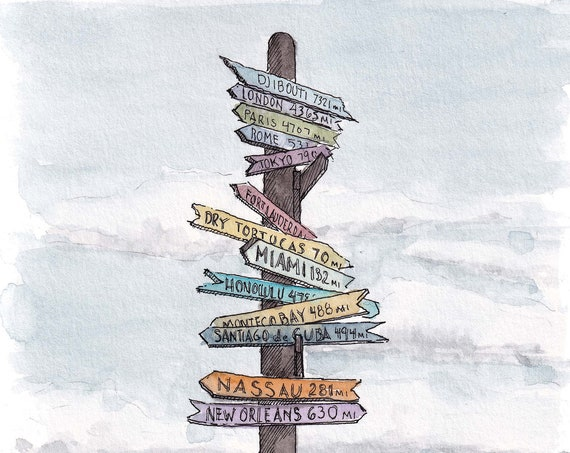 KEY WEST SIGNPOST - Florida, Fort Zachary Taylor Beach, Directions, Ink and Watercolor Painting, Drawing, Sketchbook, Art, Drawn There