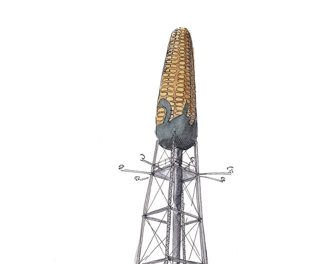 CORN WATER TOWER - Rochester, Minnesota, Quirky, Farming, Agriculture, Drawing, Ink and Watercolor Plein Air Painting, Art, Drawn There