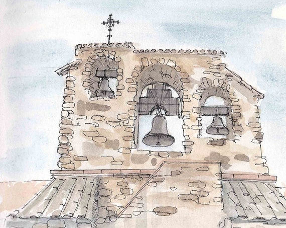 SAN MIGUEL MISSION - Bells, Bell Tower, Church, California, El Camino Real, Drawing, Watercolor Painting, Sketchbook, Art, Drawn There