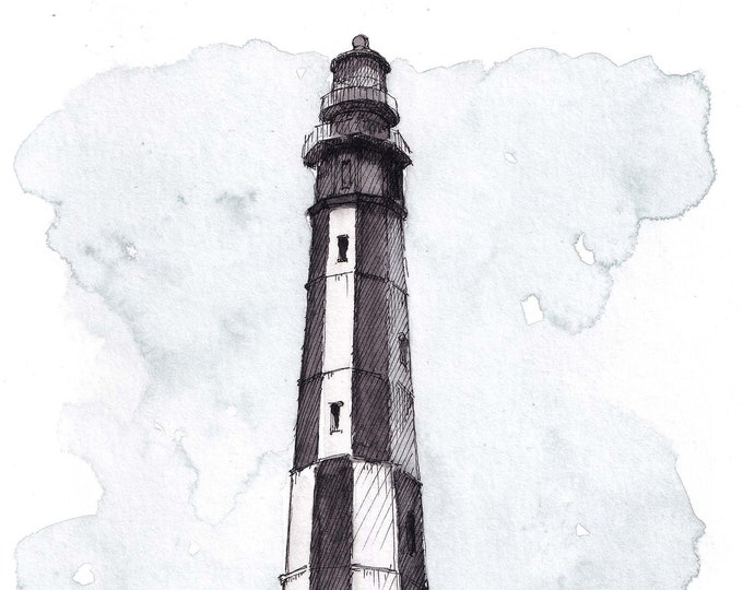 CAPE HENRY LIGHTHOUSE, Virginia Beach - Nautical, Architecture, Plein Air Ink & Watercolor Painting, Drawing, Sketchbook Art, Drawn There