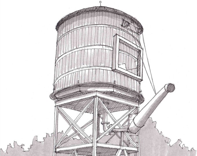 RAILROAD WATER TOWER - Fort Worth, Texas, Historic, Steam Engine, Train, Pen and Ink, Drawing, Sketchbook, Art, Drawn There