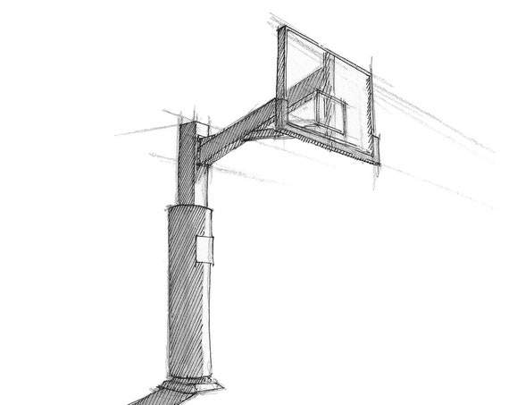 BASKETBALL BACKBOARD HOOP - Playground, Shadow, Sports, Plein Air, Drawing, Pen and Ink, Sketchbook, Art, Print, Drawn There