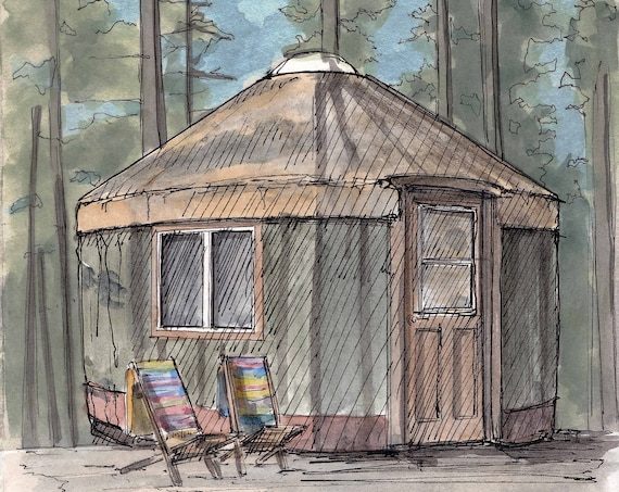 YURT - Tent, Shelter, House, Architecture, Sustainable, Off-Grid, Art, Pen and Ink, Drawing, Watercolor, Painting, Sketchbook, Drawn There