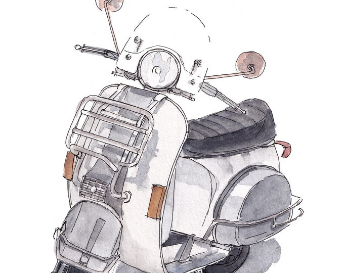 VINTAGE VESPA SCOOTER - 1980's Italian Design, White, Ink & Watercolor Painting, Drawing, Giclee Art Print, Urbansketchers, Drawn There