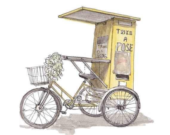 TRIKE A POSE - Yellow Photobooth, Bike, Bicycle, Yellow, Wedding Ideas, Drawing, Pen and Ink, Painting, Watercolor, Sketchbook, Drawn There