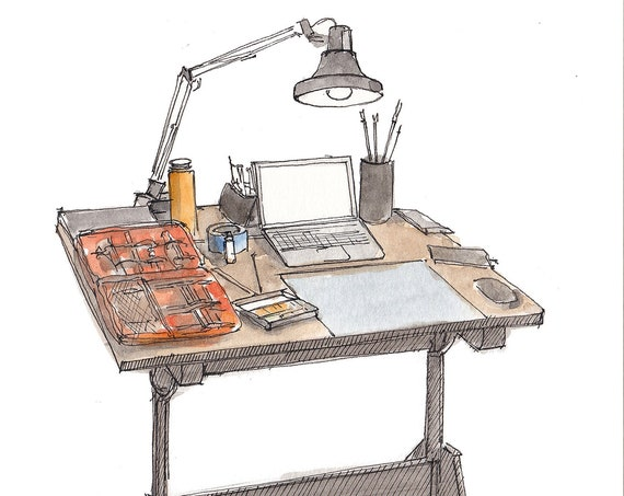 DRAWING TABLE -  Ink and Watercolor, Art Prints, Drawing, Architecture, Painting, Artist, Create, Creativity, Drafting Table, Drawn There